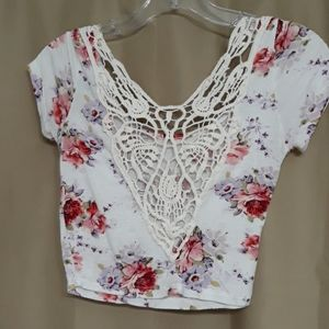 Wet Seal crop top Floral with lace front